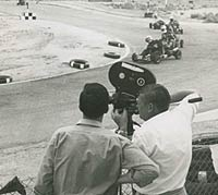 Filming the race with an Arriflex camera