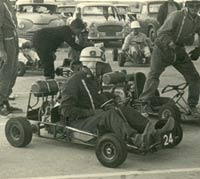 Classic racing karts in the paddock