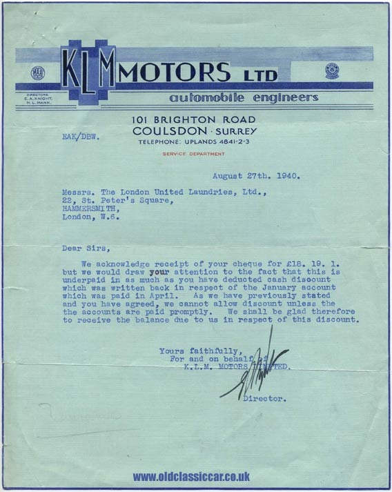 Letter from automobile engineers KLM Motors