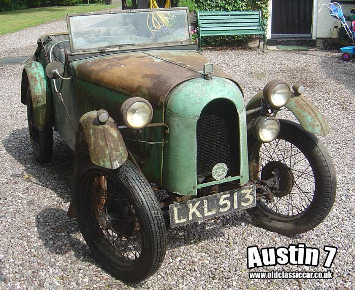 The vintage Austin 7 2-seater at home