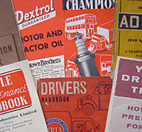 Various items of motoring literature from the 1950s