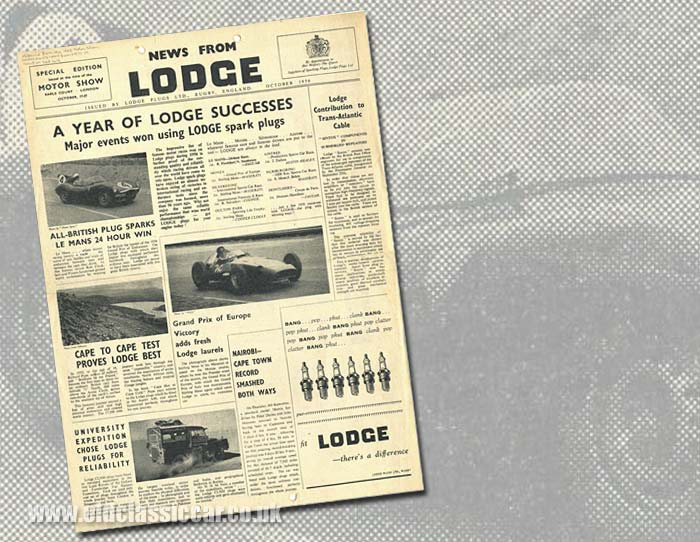 Lodge spark plugs in 1956