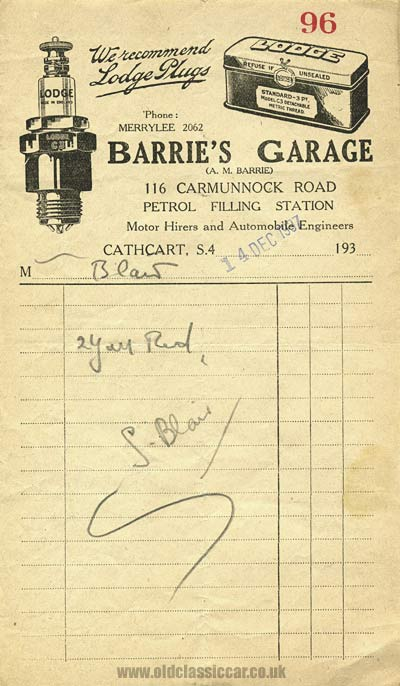 Retailer of Lodge plugs in 1937