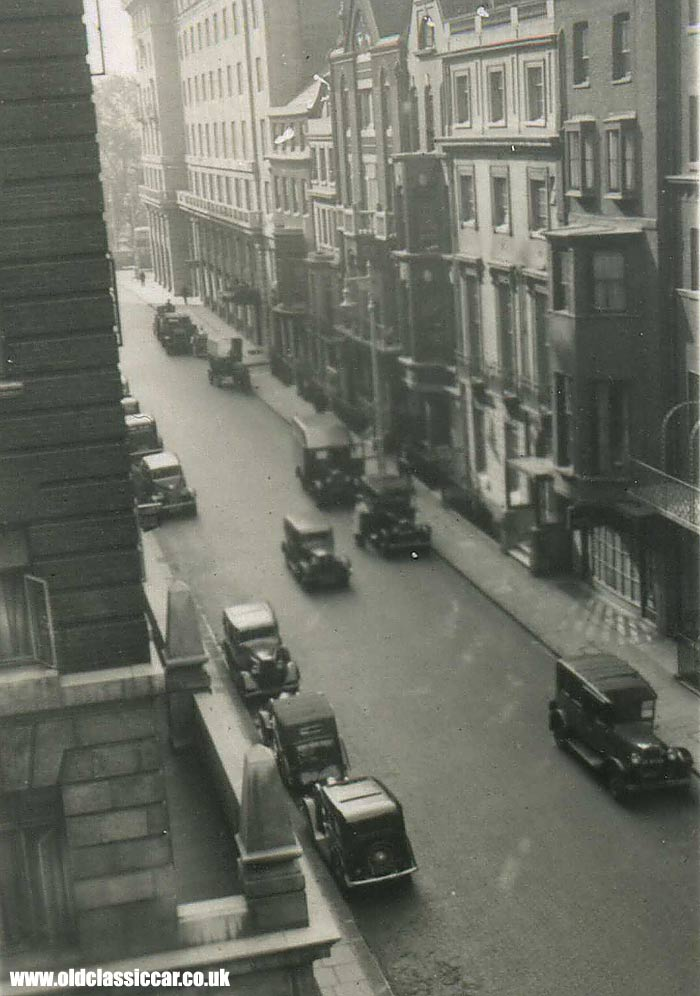 A typical London street scene in the 1930s