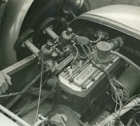 Aquaplane tuned Ford engine fitted to the Lotus 7