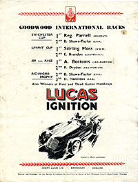 Rear cover of the magazine advertising Lucas parts