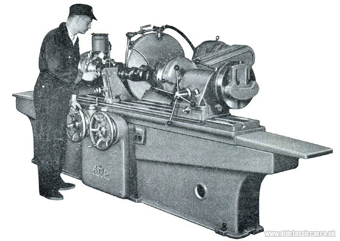 An engine's crankshaft undergoing machine work