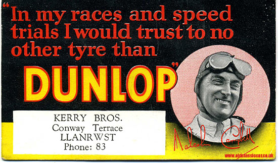 Malcolm Campbell advertises tyres