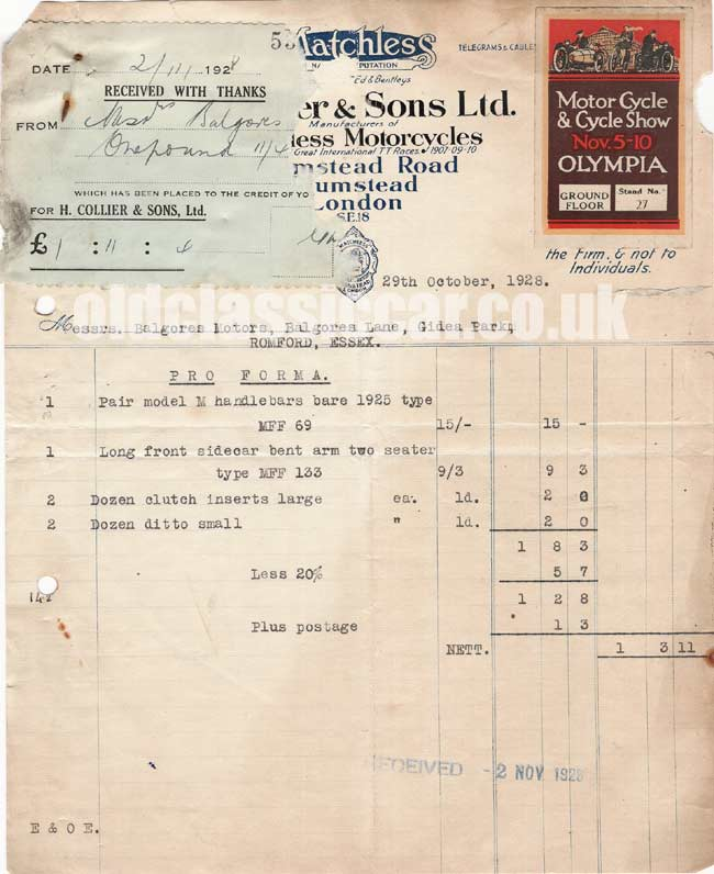 Original invoice issued for motorcycle parts