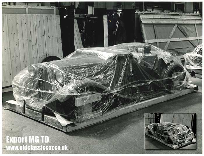 A brand new MG TD at the factory, ready for export