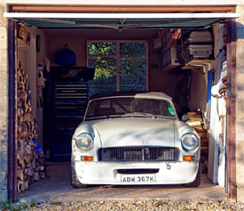 At home in its English garage