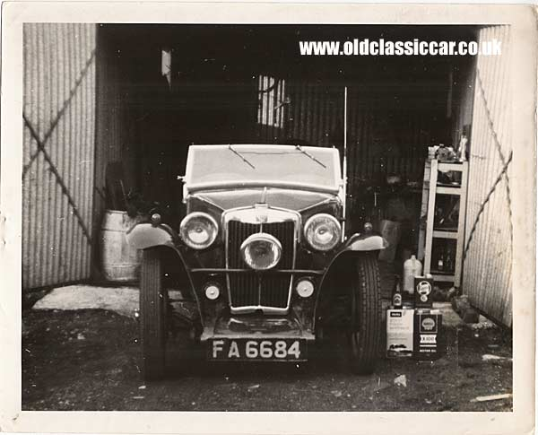 MG TC parked in a garage
