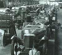 MG cars being built at the factory