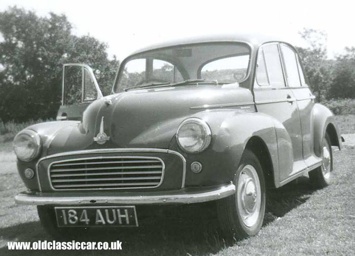 A four door Morris Minor saloon car