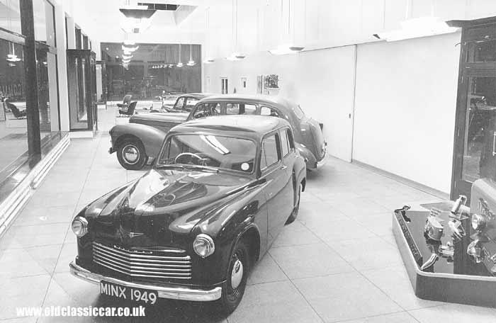 A 1949 Hillman Minx in a Rootes dealership
