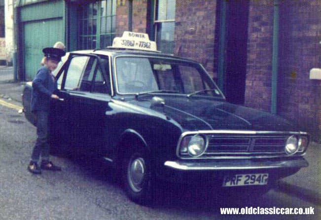 A Mark 2 Cortina taxi as used by Bowers