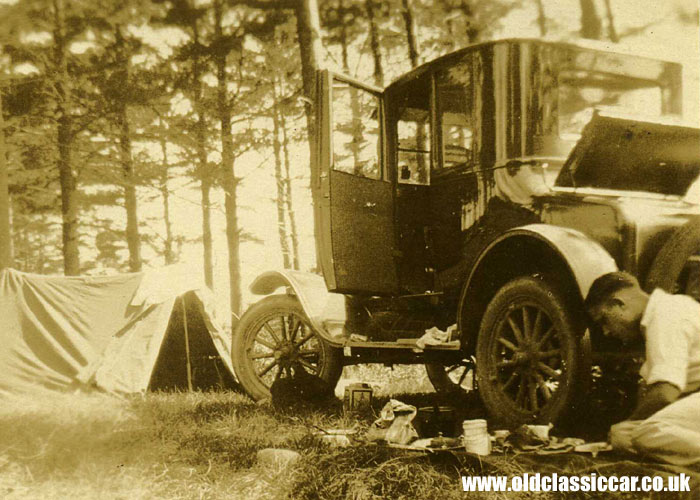 Another Model T Ford coupe, on a camping trip
