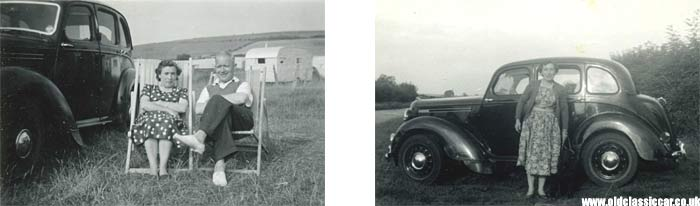 Morris 10M and an old caravan