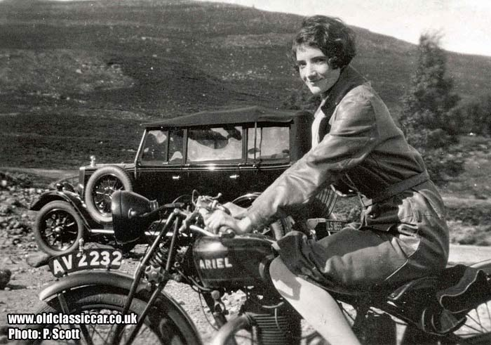 The Morris pictured with an Ariel motorcycle