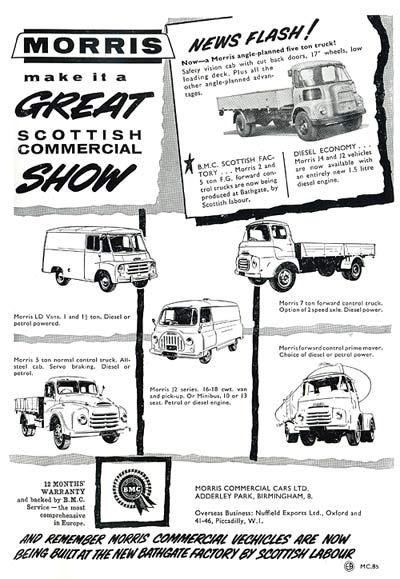 Morris Commercial vehicles for 1961