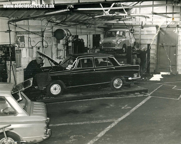 A Series 6 Morris Oxford in a garage