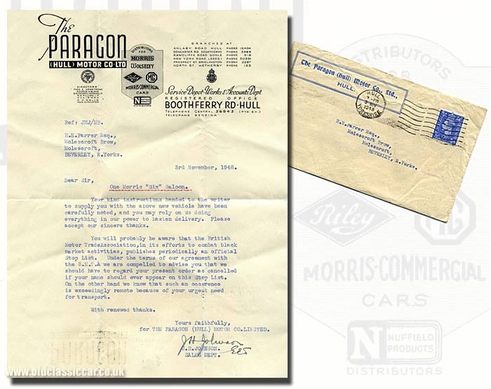 Letter regarding a Morris Six car