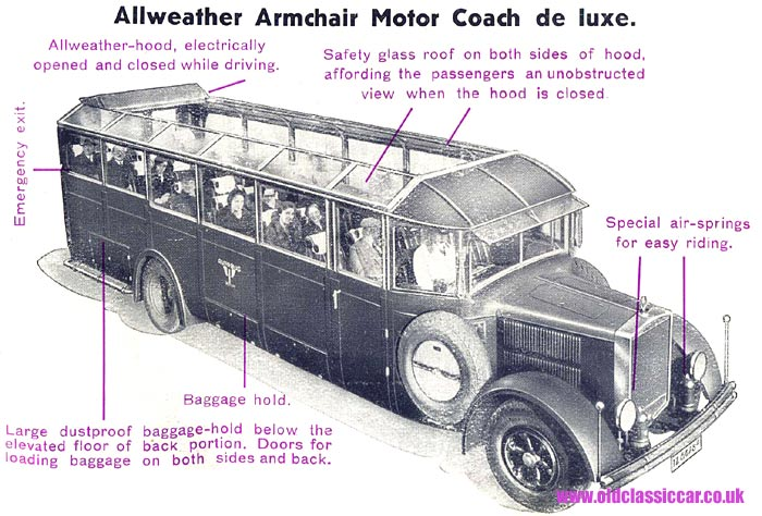 Luxurious motor coach of the 1930s