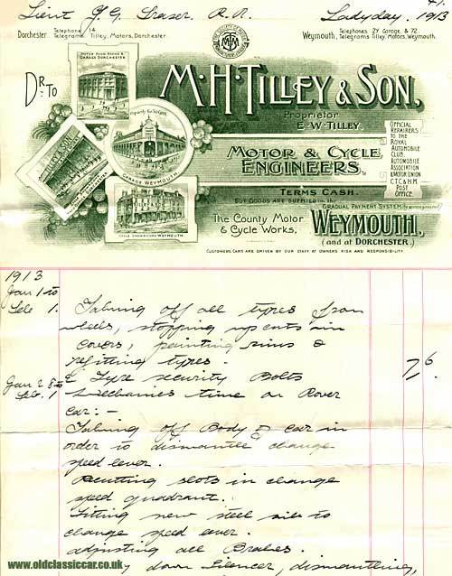 A motor engineer's invoice from 1913