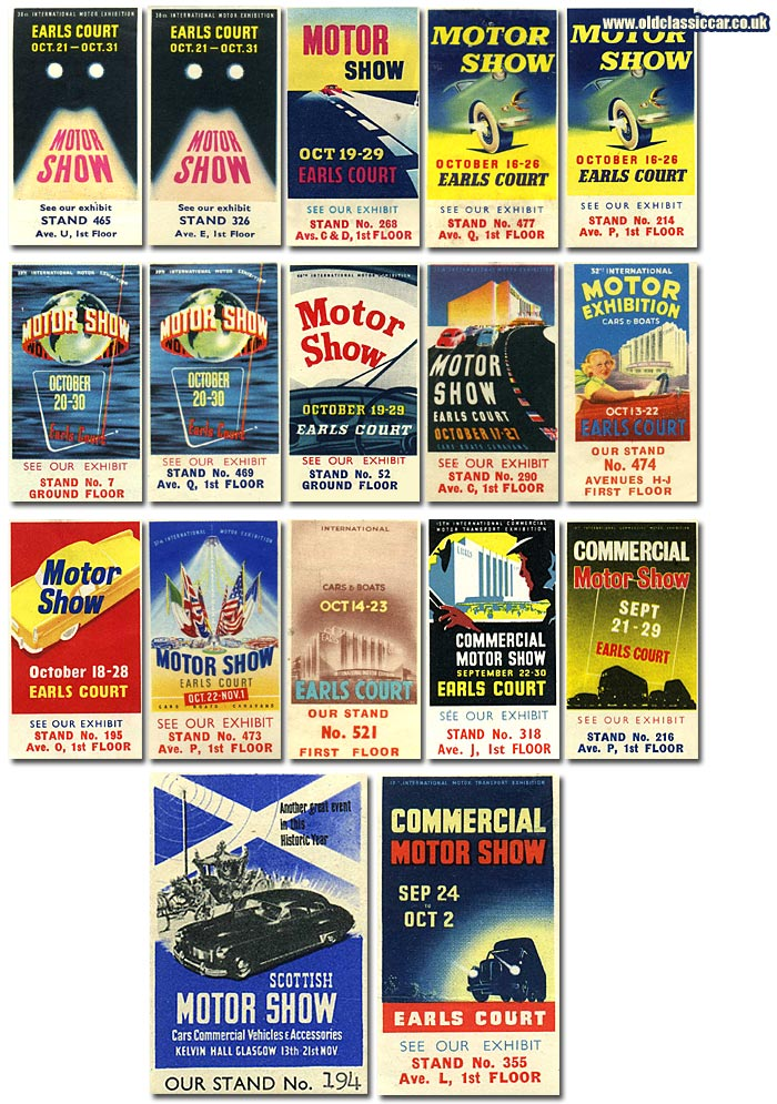 Earls Court motor show labels from the 1930s - 1950s