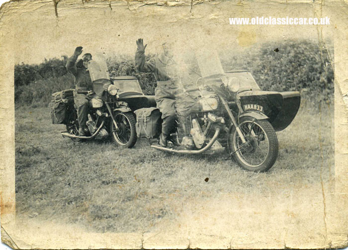 Two riders on their motorcycles