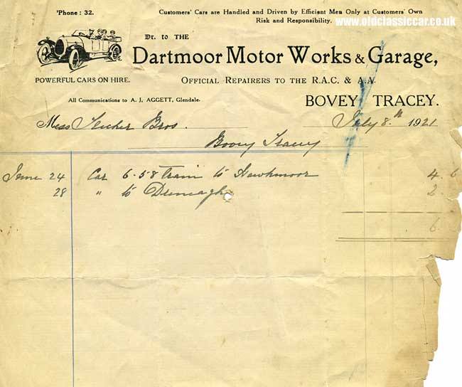 Invoice from a vintage motor garage