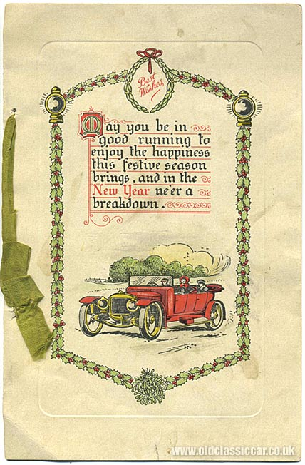 Vintage Christmas card for motorists