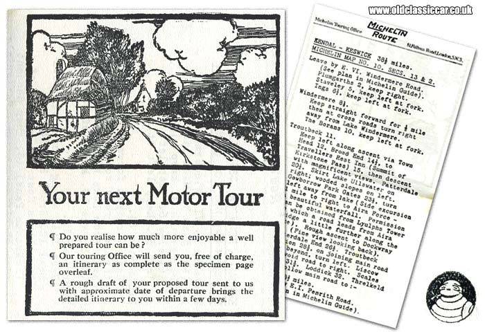 Plan for a tour of the Lake District by car