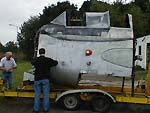 The Fairey Gannet belonging to dad and I being moved by trailer in 2003