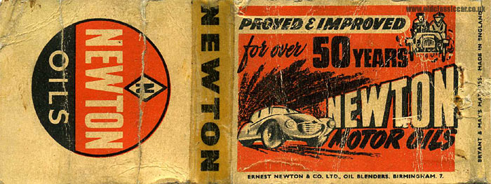 Newton Motor Oils promotional matchbook