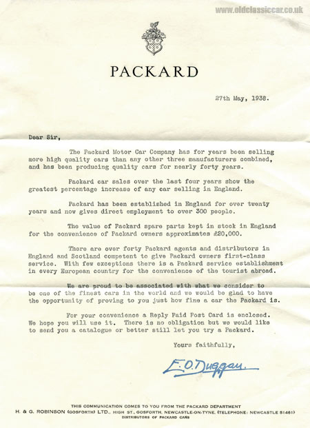 A letter regarding Packard cars