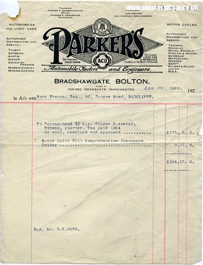 Invoice for the Singer motor-car