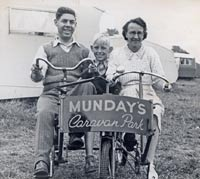 Tricycle at a 1940s caravan park