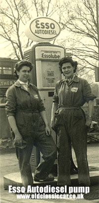 1950s petrol pump & attendant