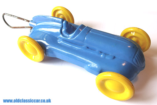 A plastic Airfix racing car of the 1950s
