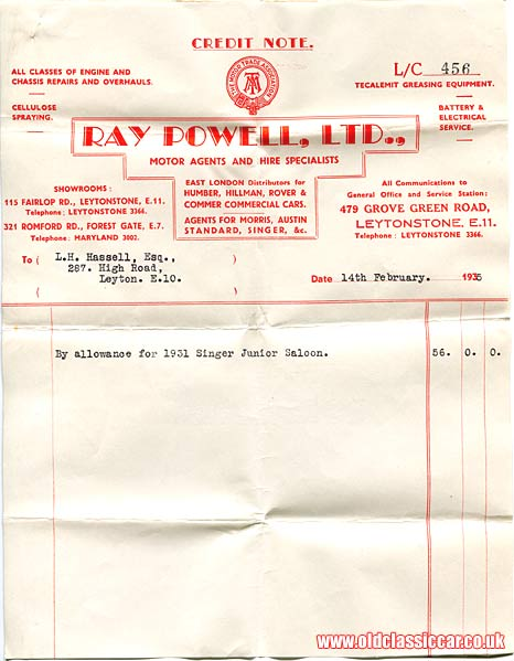 Credit note for the 1931 Singer car