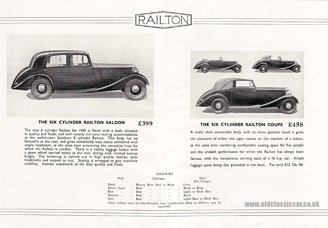 Brochure for Railton Cars