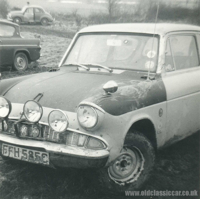 A rally prepared 105E Ford Anglia