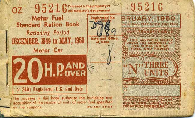 A fuel ration coupon for a 20hp car
