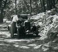 Riley Nine car with bonnet raised