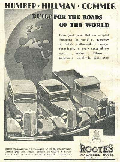 Advertisement for Rootes Group cars and lorries