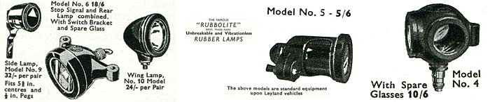 Rubbolite car, lorry and bicycle lamps