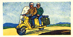 Old card featuring a scooter and its passengers