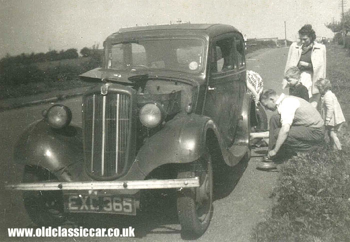 A Morris with a flat tyre