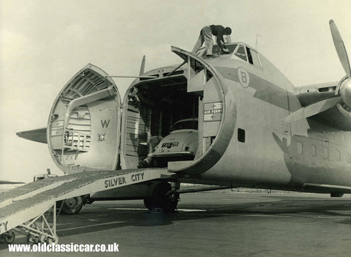 A Morris is loaded into a Silver City Bristol Freighter